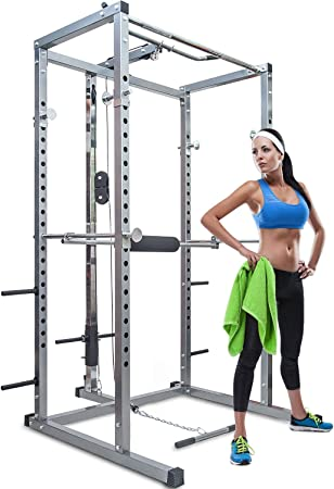 side facing merax athletics fitness power rack