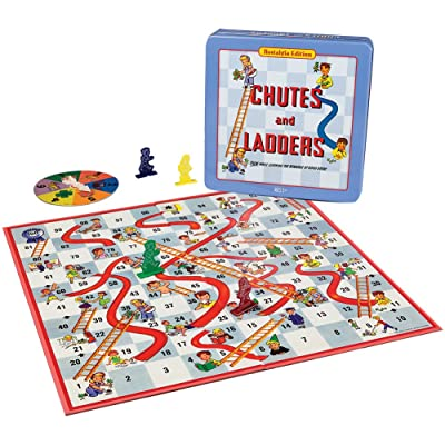 Chutes and Ladders Deluxe Board Game in Classic Nostalgia Collector's Tin: Toys & Games