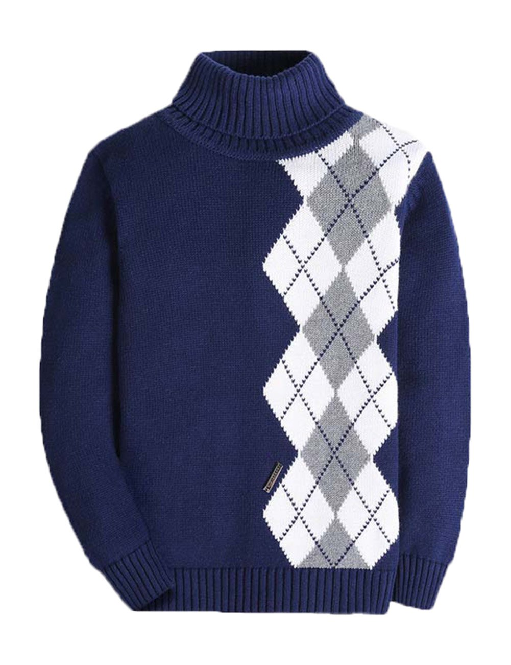 BASADINA Boys Thickened Turtleneck Sweater - Plaid Thick Sweater for Boys 100% Cotton
