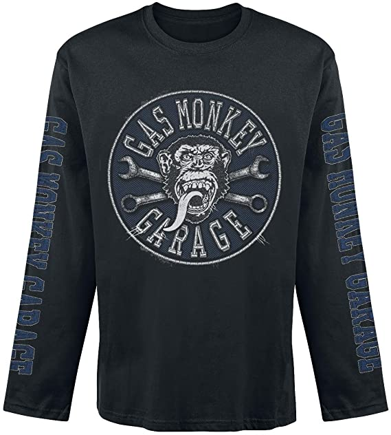 Gas Monkey Garage - Faux Patch Long Sleeve Hombres Camiseta - Negro - Tamaño Small: Amazon.es: Ropa y accesorios