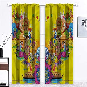 Kitchen Curtains Modern Soundproof Window Curtain Panels Summer Fan Cooler for Bedroom 2 Rod Pocket Panels, 27