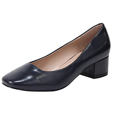 Cambridge Select Women's Closed Square Toe Slip-On Chunky Block Heel Dress Pump
