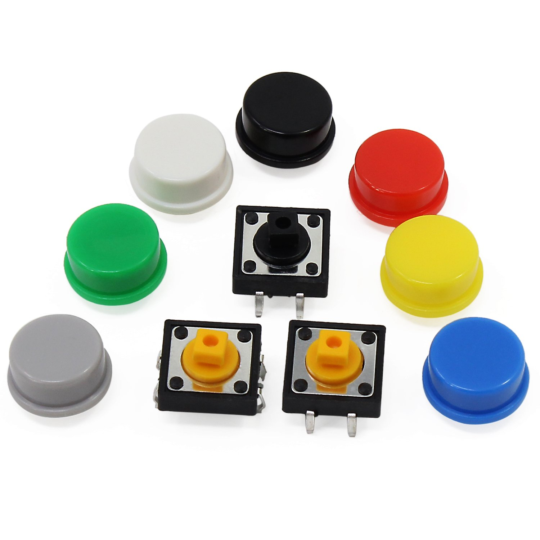 Aussel 60 Piezas T/áctil Bot/ón Interruptor Tap/ón 12x12x7.3mm Micro Momentary Tact llave de tapones Kit de surtido