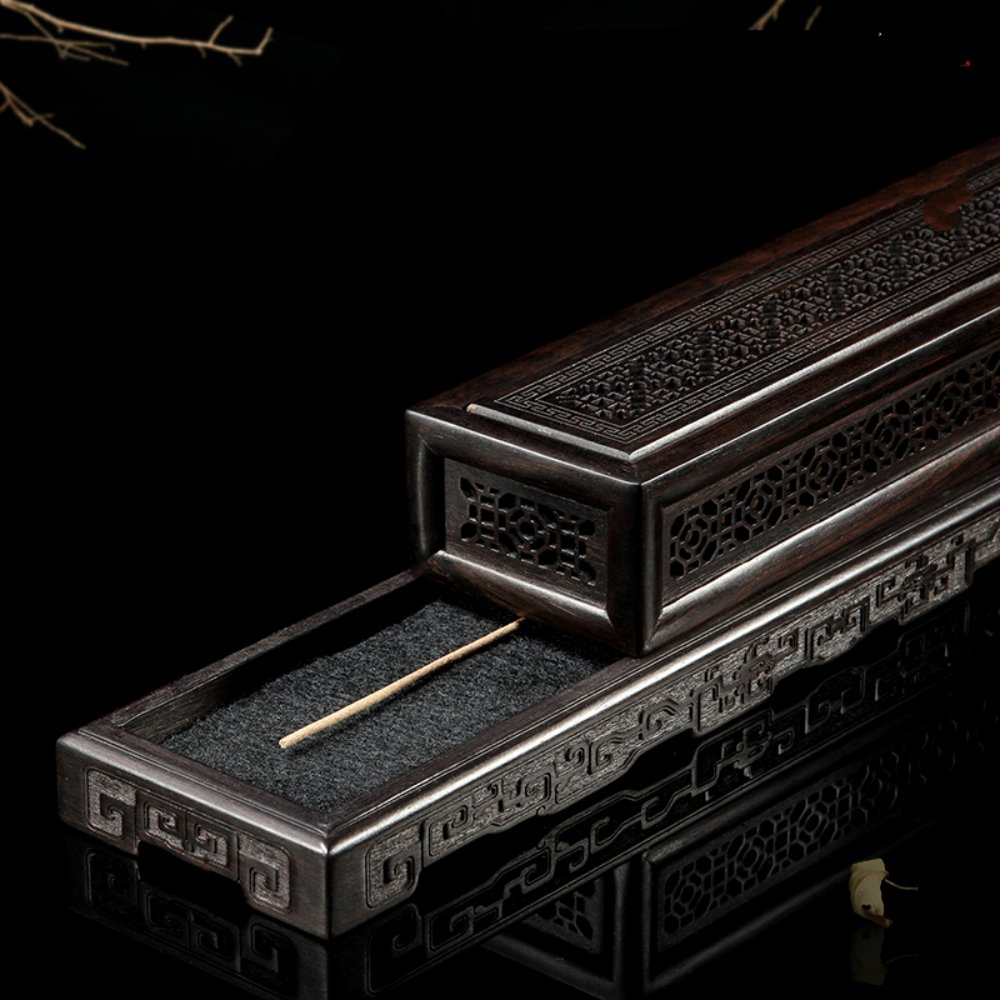 Rosewood Ebony Wood Incense Burner Holder Coffin Incense Burner Box Incense Stick Holder by Spie (Image #3)