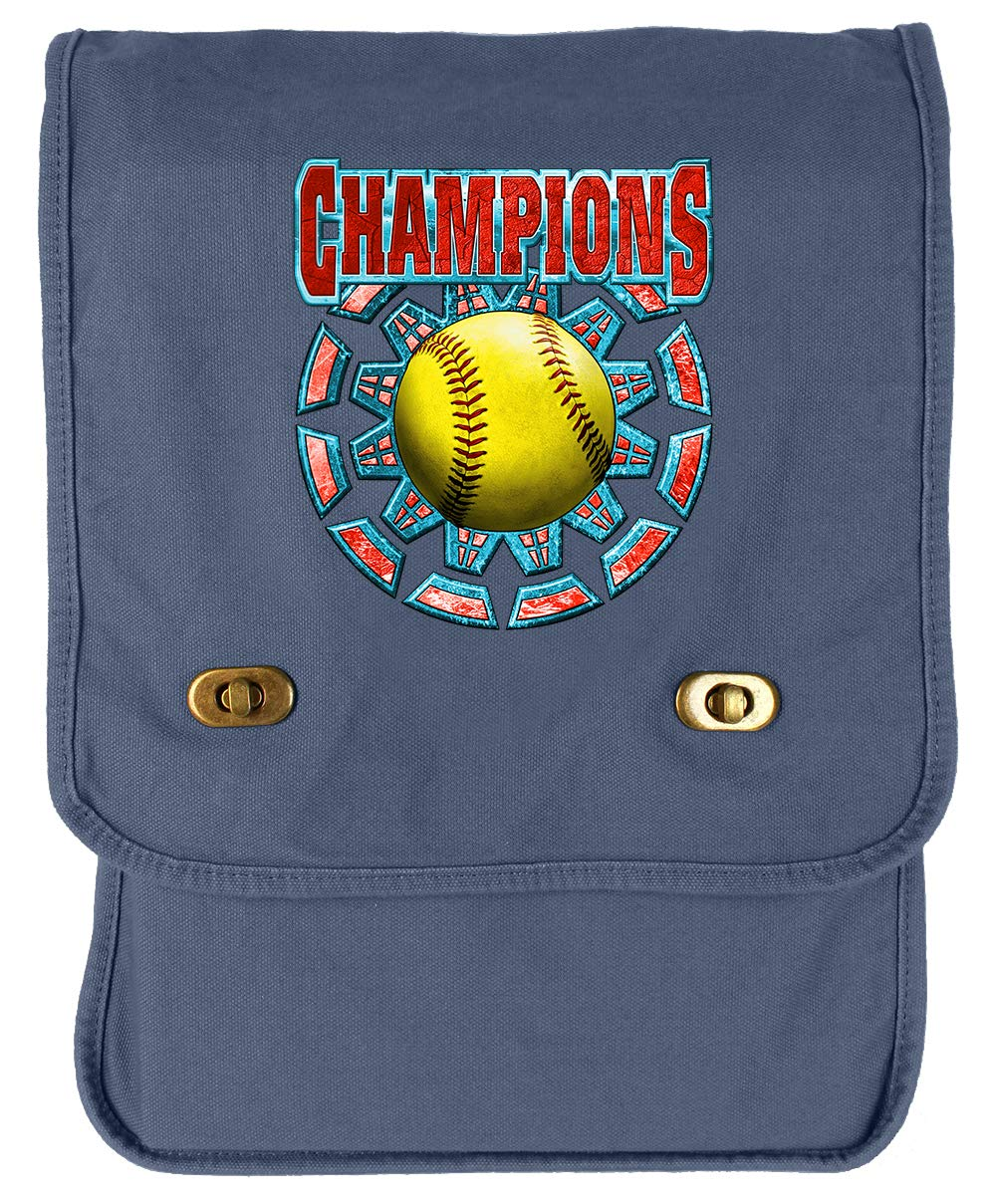 Tenacitee Softball Champions Royal Blue Brushed Canvas Messenger Bag