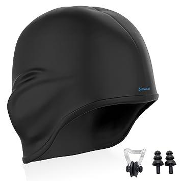 913e7966c64a Earwaves ® H2O - Gorro de natación ergonómico con cavidad para Orejas.  Gorro de Piscina para Hombre y Mujer Hecho de Silicona Ideal para Pelo  Largo y ...