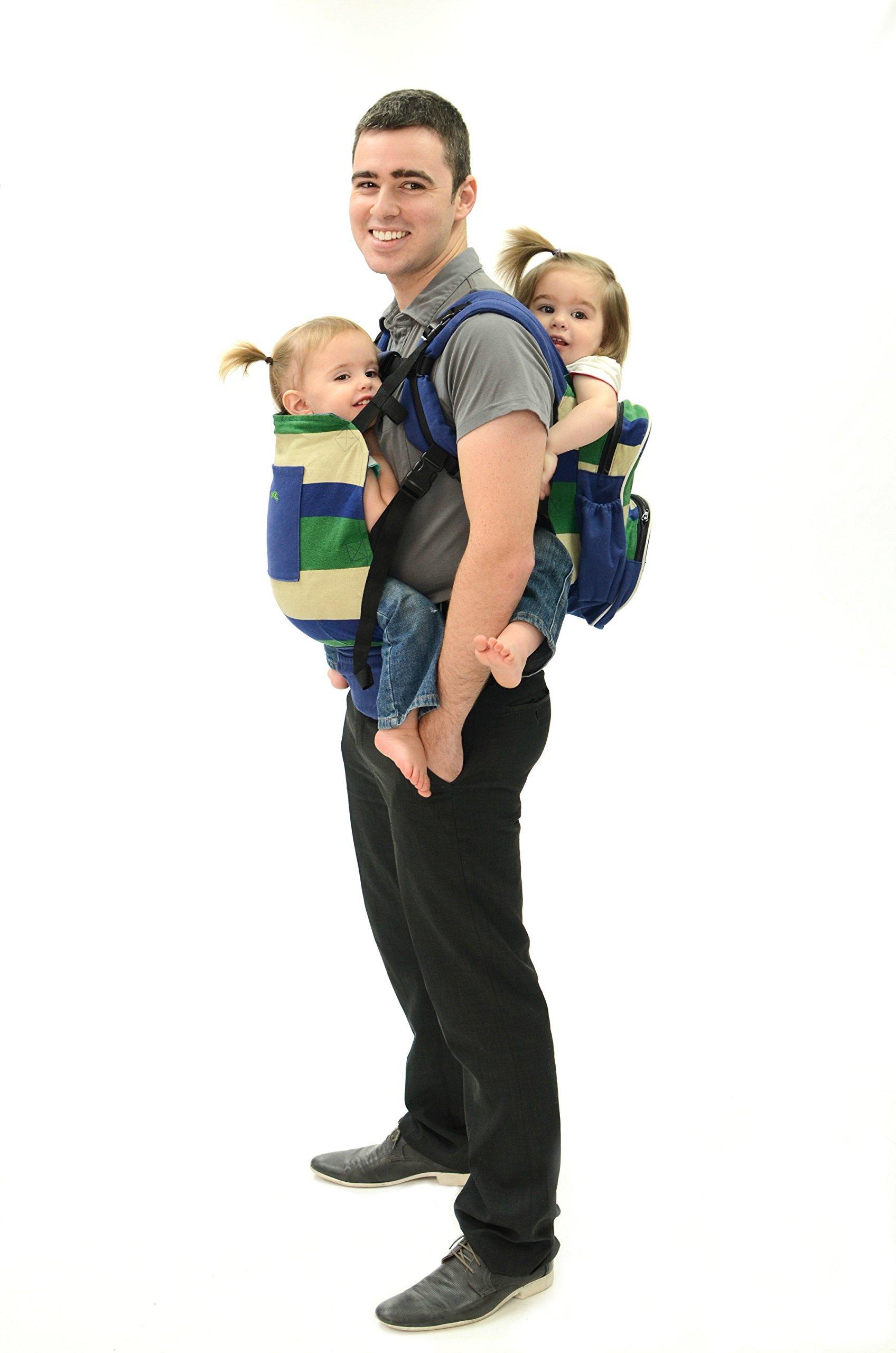 Stuff 4 Multiples Twingaroo Twin Baby Carrier, Blue/Cream/Green