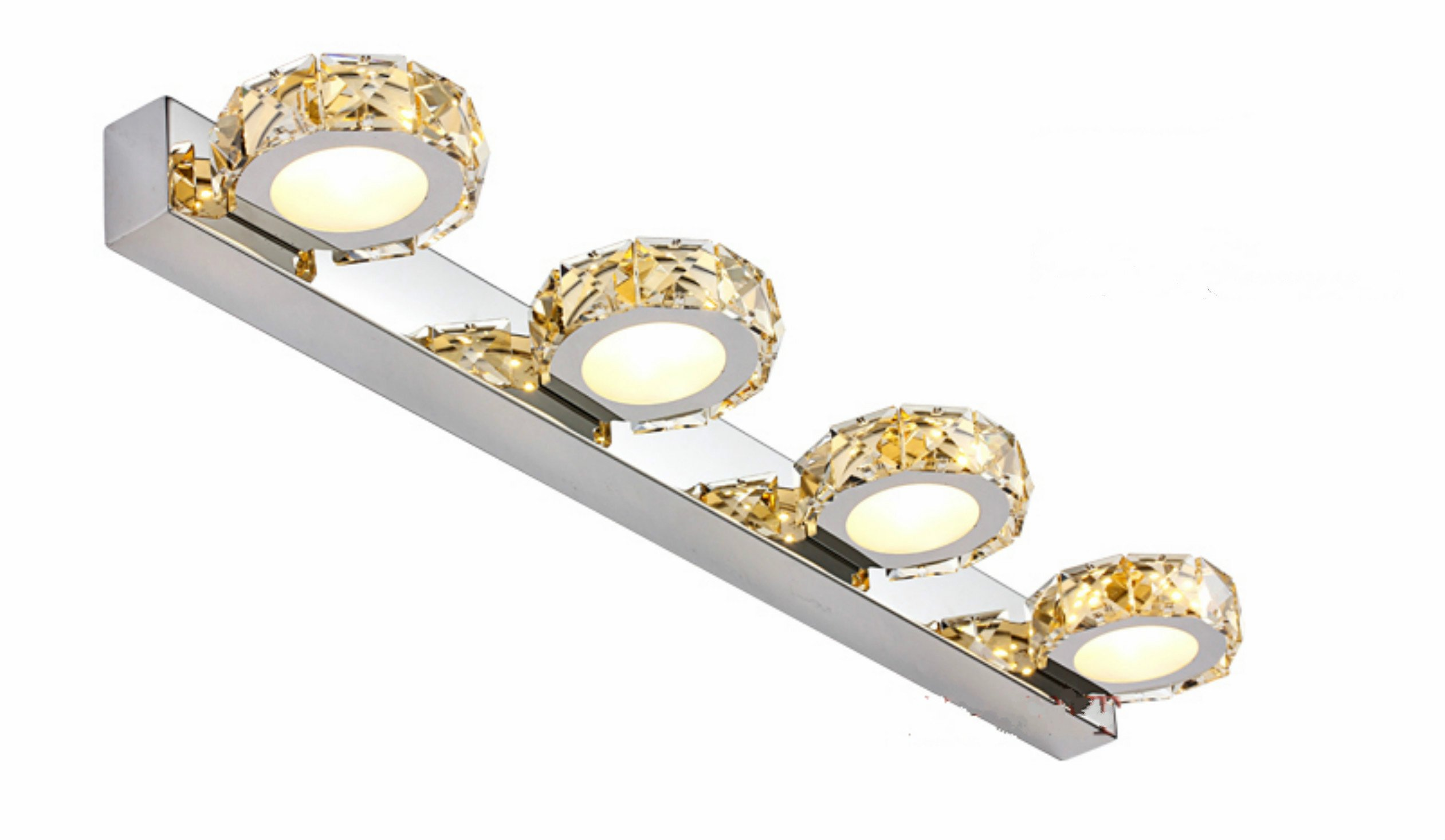 Lightess Vanity Lights 4-Light LED Bathroom Light Fixtures Crystal 1200 Lumen 12W, Gold