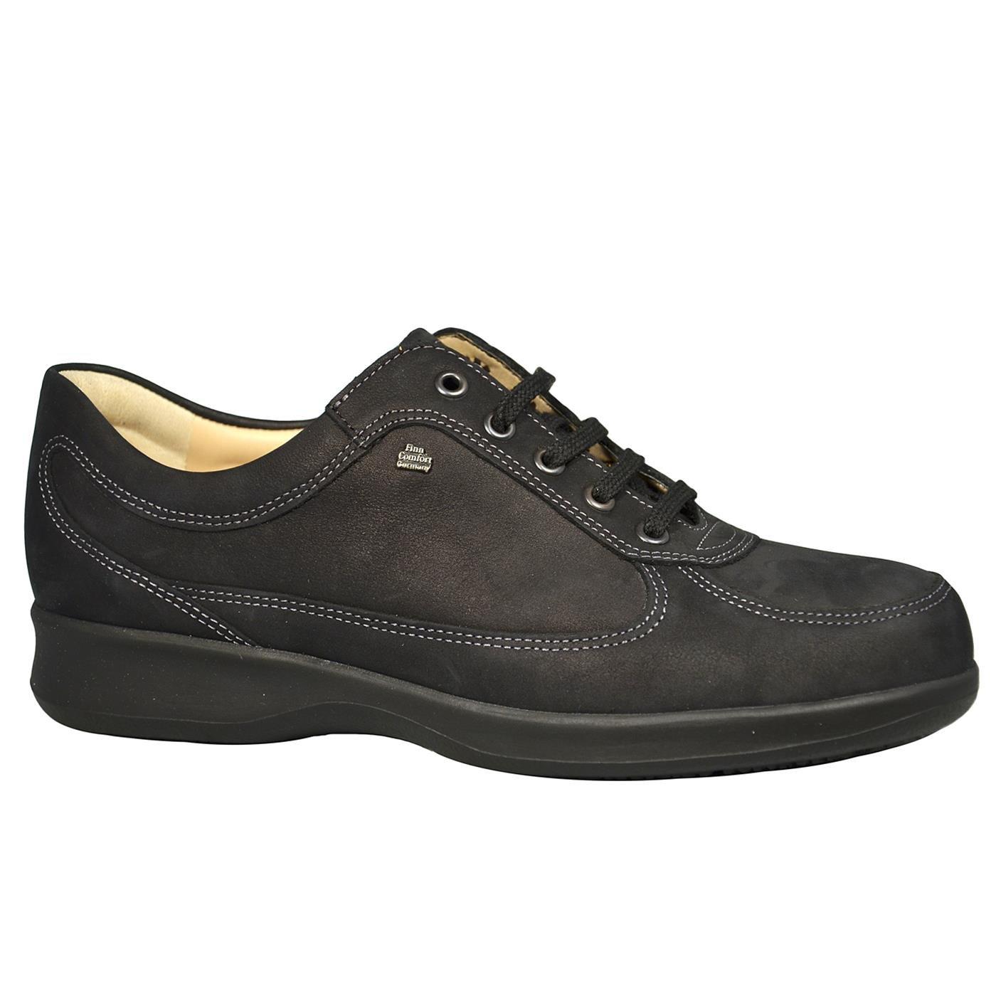 FINNCOMFORT - Zapatos de cordones de cuero nobuck para mujer 37 EU|negro - negro