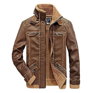 Moxishop Herren Jacke Herbst Winter Hohe Qualität PU Wolle gefütterte Jacke  Classic Thick Stehkragen warme Jacke 958a3133a8