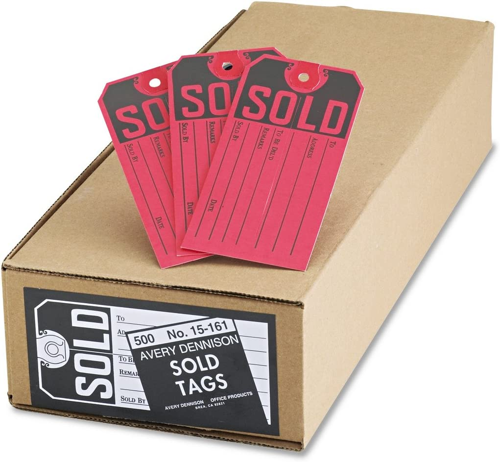 Avery 15161 Sold Tags, Paper, 4 3/4 x 2 3/8, Red/Black (Box of 500)