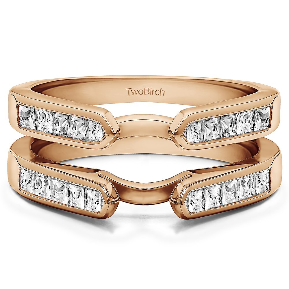 TwoBirch Rose Gold Plated Sterling Silver Cathedral Style Channel Set Princess Cut Ring Guard with Cubic Zirconia (0.75 ct. tw.)