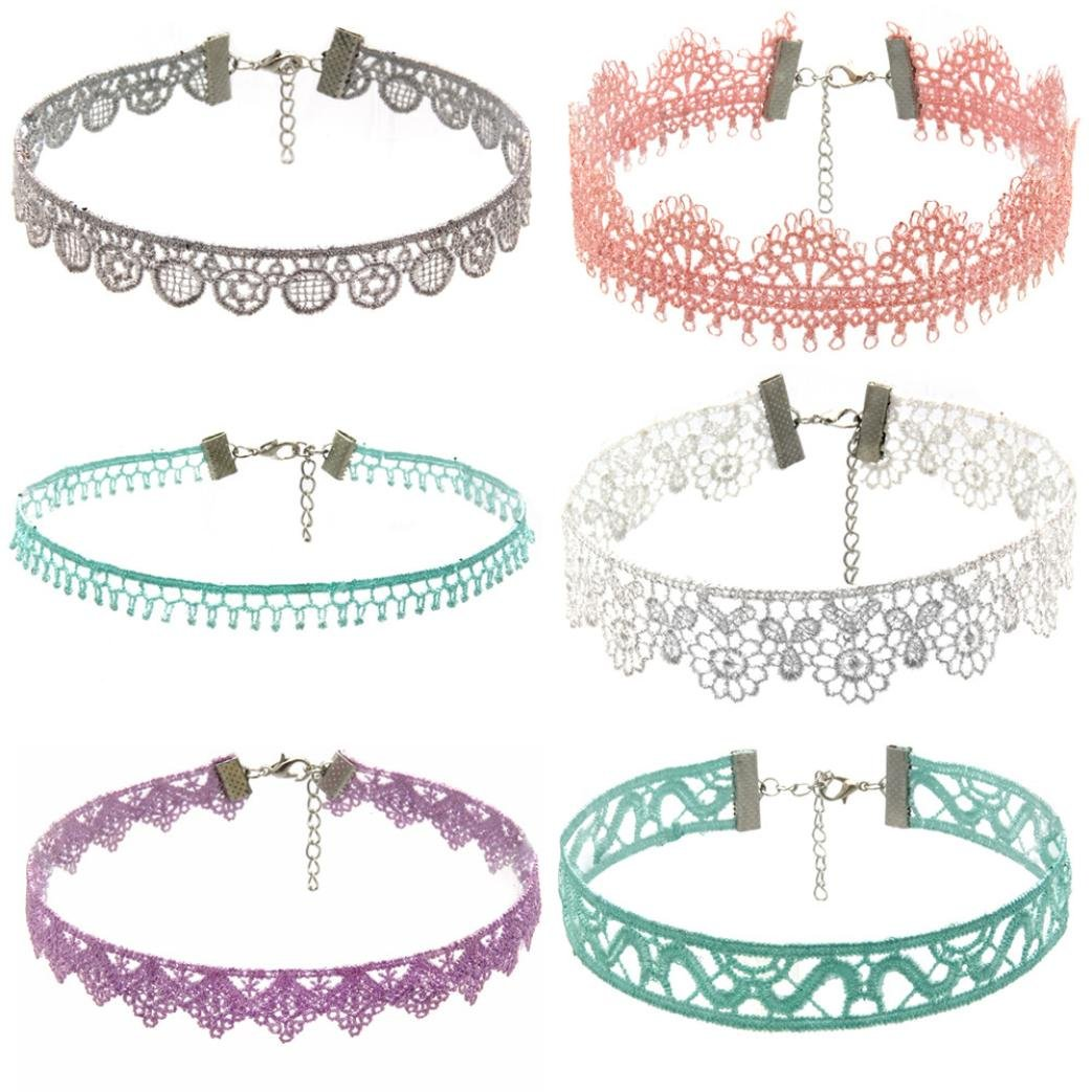 Women Necklace Pendant ,Lavany 6Pieces Choker Stretch Velvet Classic Gothic Tattoo Lace Necklace Set Gift For Women (B)