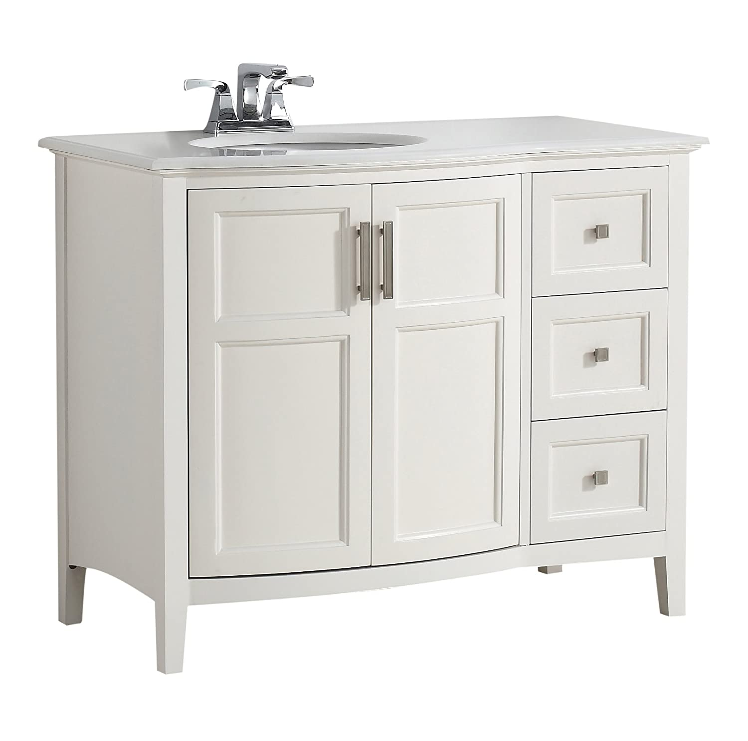 "Simpli Home Winston 42"" Bath Vanity Rounded Front with Quartz"