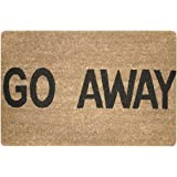 ChezMax Go Away Non-Slip Doormat Coral Fleece Indoor Outdoor Kitchen Floor Rug Front Door Mat Funny Flannel Carpet 16 X 23 In