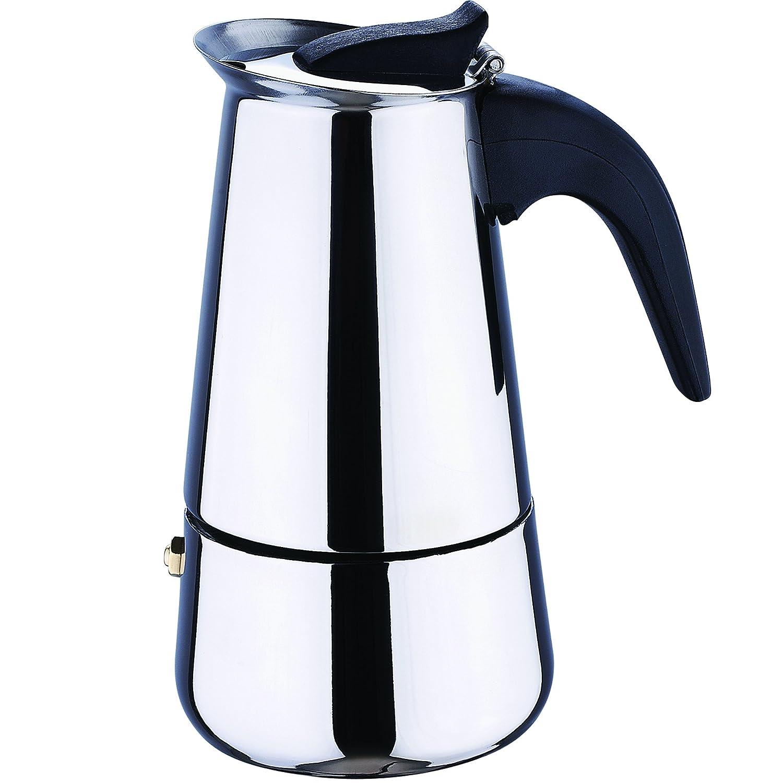 Bergner Cafetera De Aluminio Barista para 4 Tazas Plateada 16,3 Cm, baquelita, Gris