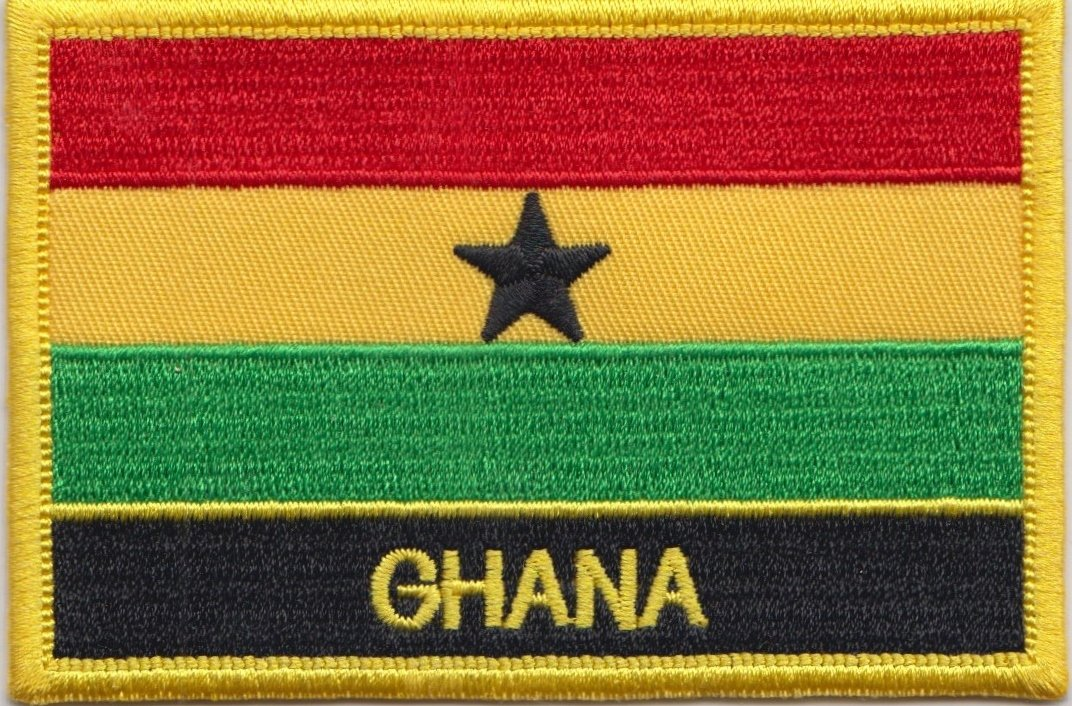 Sew On Or Iron On Exclusive Design From 1000 Flags Ghana Flag Embroidered Rectangular Patch Badge