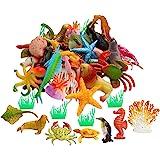 42pcs Plastic Ocean Animals Toys Realistic Mini Sea Creature Figure Toys Fake Under The Sea Creatures Bath Toys for Kids Todd