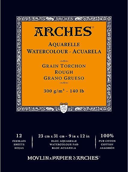 - grana satinata Arches blocco per acquerello incollato 1 lato 300 g//mq A4 12 fogli