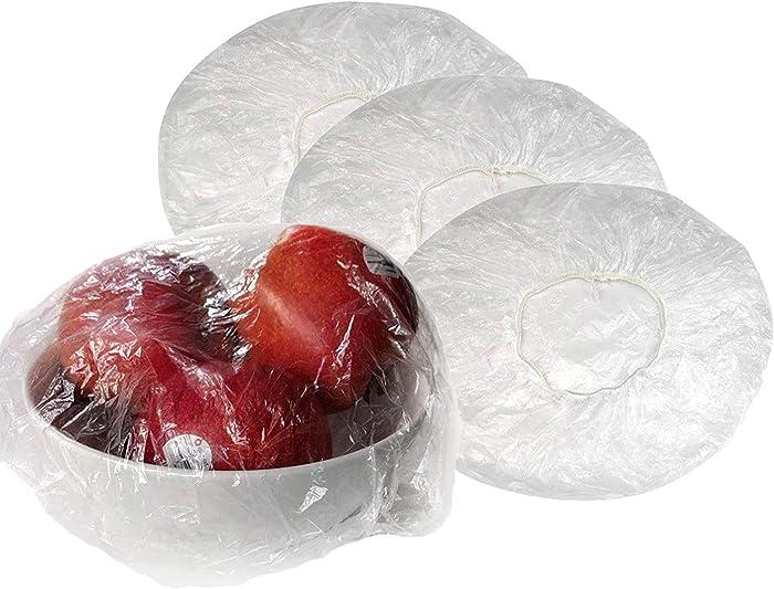 100Pcs Elastic Plastic Bowl Covers, Transparent Plastic Food Plate Covers with Elastic Edging Reusable for Bowls, Elastic Plastic Food Wrap, Elastic Covers for Fruits Leftovers