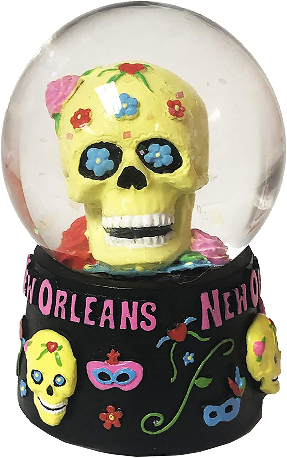 Meaningful Gifts The City of New Orleans Novelty Funny Yellow Skull Snow Globe Etched Glass Souvenir Showpiece