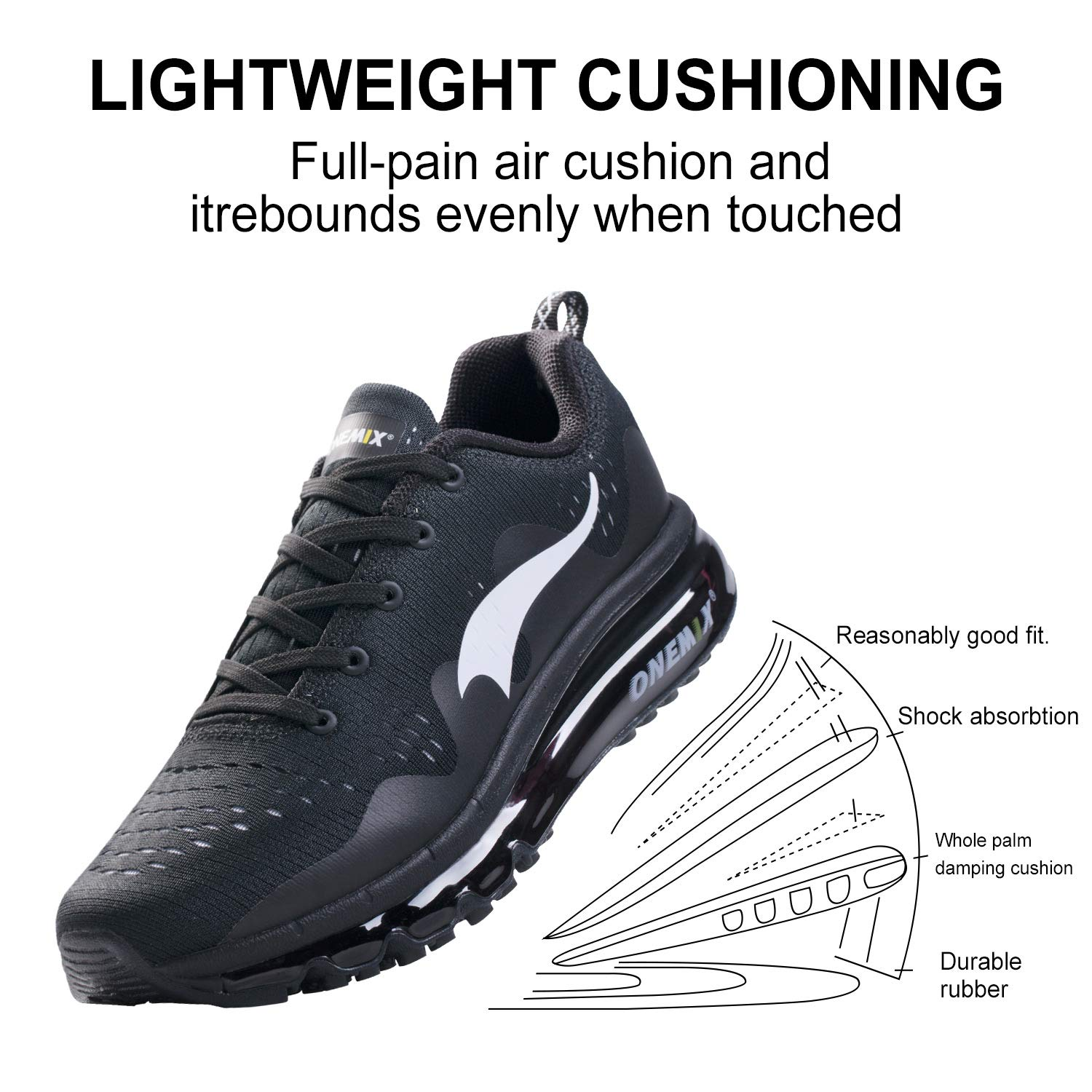 quality design 516a8 70656 Amazon.com   ONEMIX Men s Running Shoes Lightweight Breathable Air Cushion  Sports Sneaker   Road Running