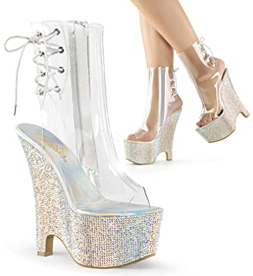 591219bce95 Pleaser BEAU-1018DM Platform Open Toe and Heel Wedge Boot Side Zip Clear  Silver  Amazon.co.uk  Shoes   Bags