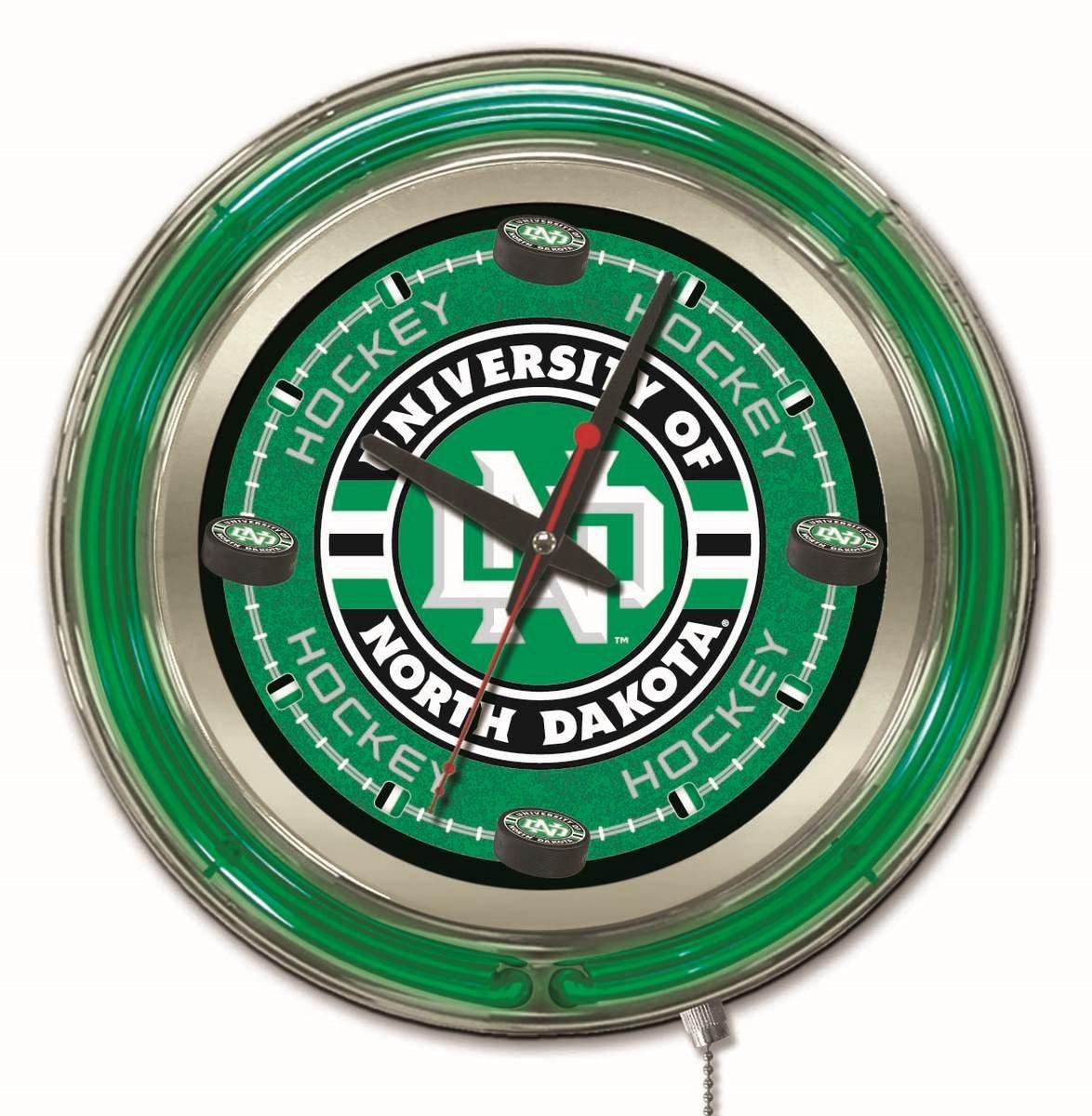 Holland Bar Stool Company NCAA North Dakota Hockey Double Neon Ring 15-Inch Diameter Logo Clock by Holland Bar Stool Company (Image #1)