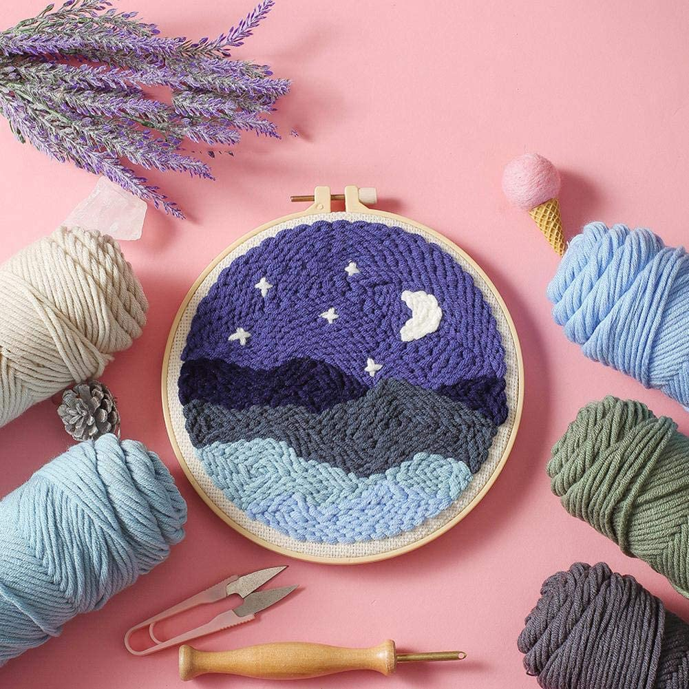 Handcraft Woolen Embroidery Knitting with Punch Needle DIY Rug Hooking Kit Handcraft Woolen Embroidery Knitting Set