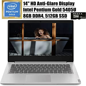 "Lenovo Ideapad S145 14 2020 Premium Laptop Computer I 14"" HD Anti-Glare Display I Intel Pentium Gold 5405U I 8GB DDR4 512GB SSD I Dolby Audio Webcam WiFi HDMI Win 10 + Delca 16GB Micro SD Card"