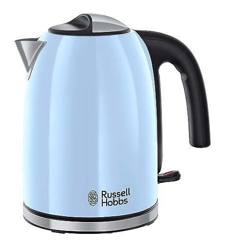 Russell Hobbs Colours Plus - Hervidor de Agua Eléctrico (2400 W, 1,7l, Acero Inoxidable, Azul Cielo) - ref. 20417-70
