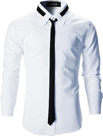 FLATSEVEN Camisas Slim Fit De Vestir Hombre con Corbatas (SH107) Blanco, XL: Amazon.es: Ropa y accesorios