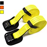 """Two Pack of Extra Strong Lashing Straps with Heavy Duty Black Cam Buckle-1.5"""" wide x 15ft Long-Up To 1980Lbs-Great for securing light and medium cargo (2pk Yellow)"""