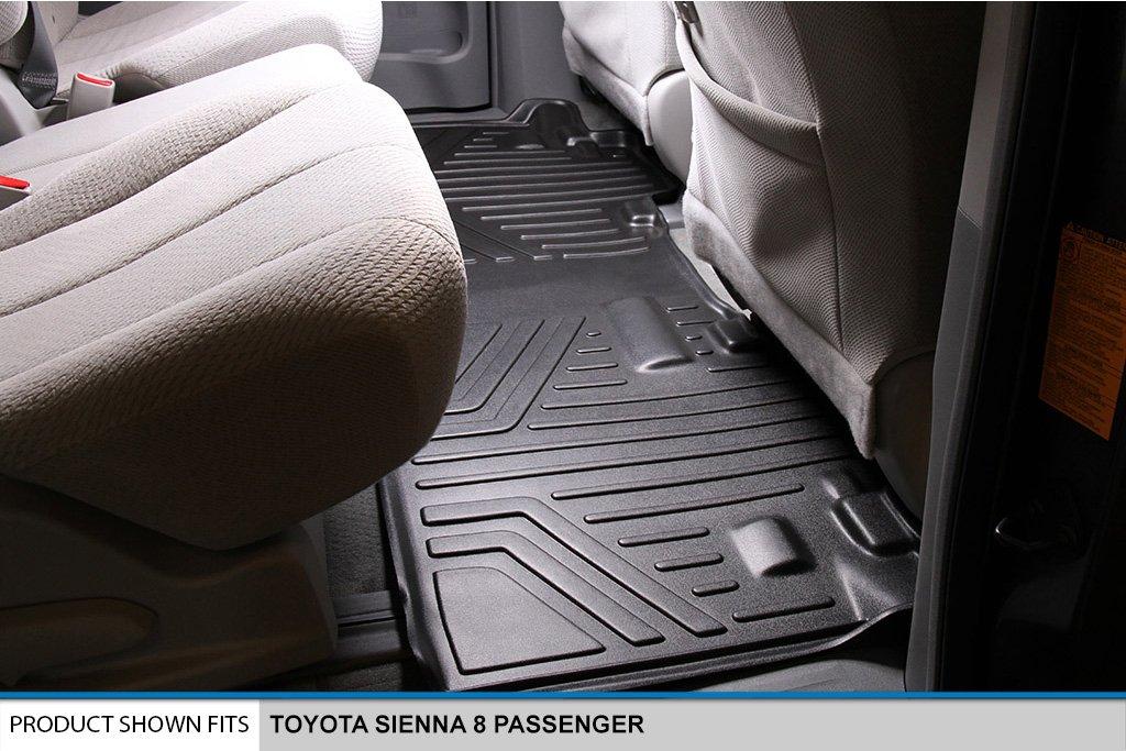SMARTLINER Floor Mats 3 Row Liner Set Black for 2013-2018 Toyota Sienna 8 Passenger Model Maxliner A0128//B0083//C0083