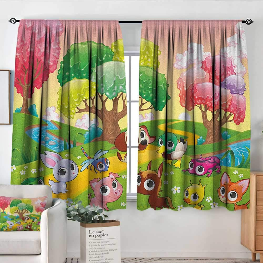 color12 42\ Kitchen Curtains Cartoon,Kids Nursery Theme Animals in The Forest with Nice Flowers Illustration Artwork, Multicolor,Darkening and Thermal Insulating Drapes 42 x54