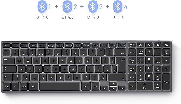 Seenda - Teclado Bluetooth con teclado numérico, recargable y delgado con Bluetooth (sincronización de 4 dispositivos) compatible con Windows Laptop PC Surface Orter, gris espacial: Amazon.es: Electrónica
