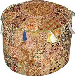 "GANESHAM Indian Hippie Vintage Cotton Floor Pillow & Cushion Patchwork Bean Bag Chair Cover Boho Bohemian Hand Embroidered Handmade Pouf Ottoman (Beige, 13"" H x 18"" Diam.(inch))"