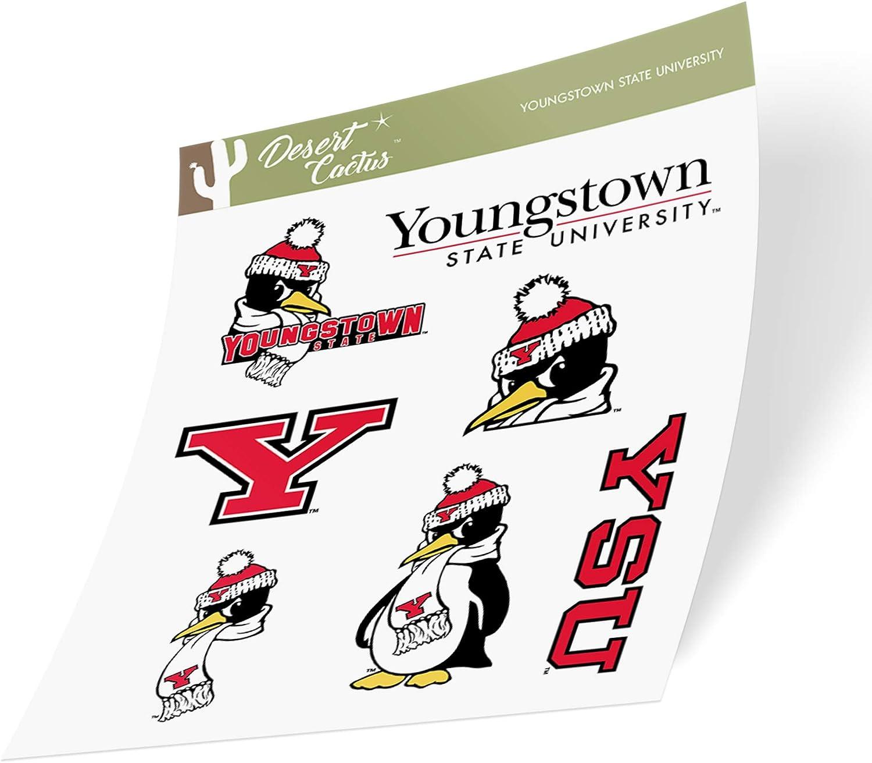 Youngstown State University YSU Penguins NCAA Sticker Vinyl Decal Laptop Water Bottle Car Scrapbook (Type 2 Sheet)
