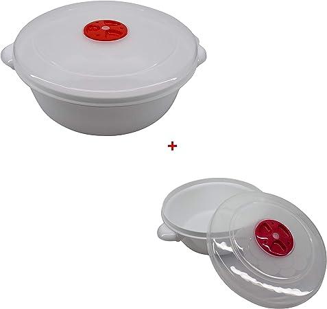 totale 2 unit/à. 2 litri Diametro 22cm pi/ù 1 litro diametro 17 Ciotola Cocotte per Microonde con valvola Idonea per Lavastoviglie e Congelatore