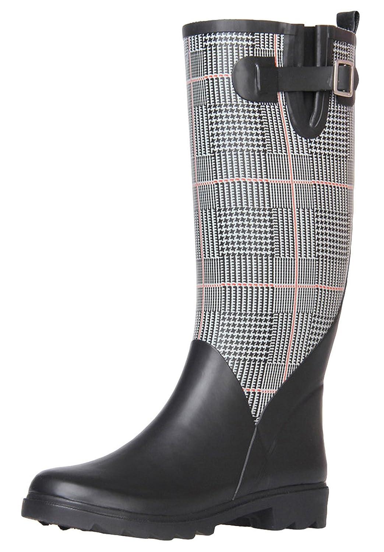 FEILG Women's Check High Leg Rubber Rain Boots