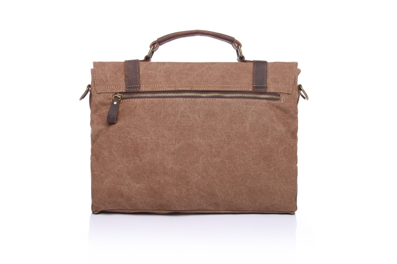 Mens Messenger Bag Retro Canvas Bag with The First Layer of Crazy Horse Leather Shoulder Portable Briefcase Color : Brown, Size : M
