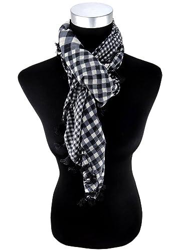pañuelo negro gris plata hilo de brillo (Lurex) a cuadros - refriega