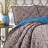 3 Piece Multi Color King Size Duvet Cover Set, Vibrant Blue Red Indigo Southwest Theme Bohemian Geometric Medallion Pattern Bedding Shabby Chic Casual Modern, Microfiber Polyester