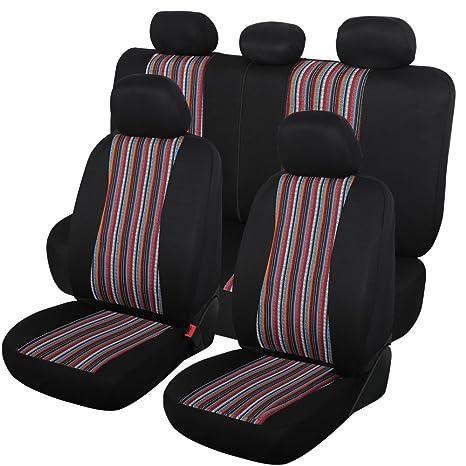 Autojoy Balck Baja Cloth Car Seat Covers BreathableFabric AirbagQuick Install