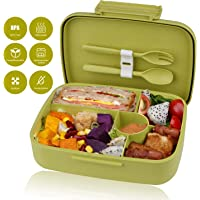 kupbox Brotdose Bento Box für Kinder, auslaufsichere Lunch Box mit fünf separat Fächer, BPA Frei, Geeignet für Mikrowellen und Spülmaschinen, kein Fremdgeruch-Grün.Brotdose Kinder