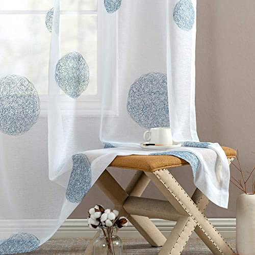 Topick Embroidery Sheer Curtains Bedroom 95 inch Length Living Room Curtain Sheers Embroidered Semi Voile Curtain Panels Nest Pattern Drapes Gromment Window Treatment 1 Pair Blue on White