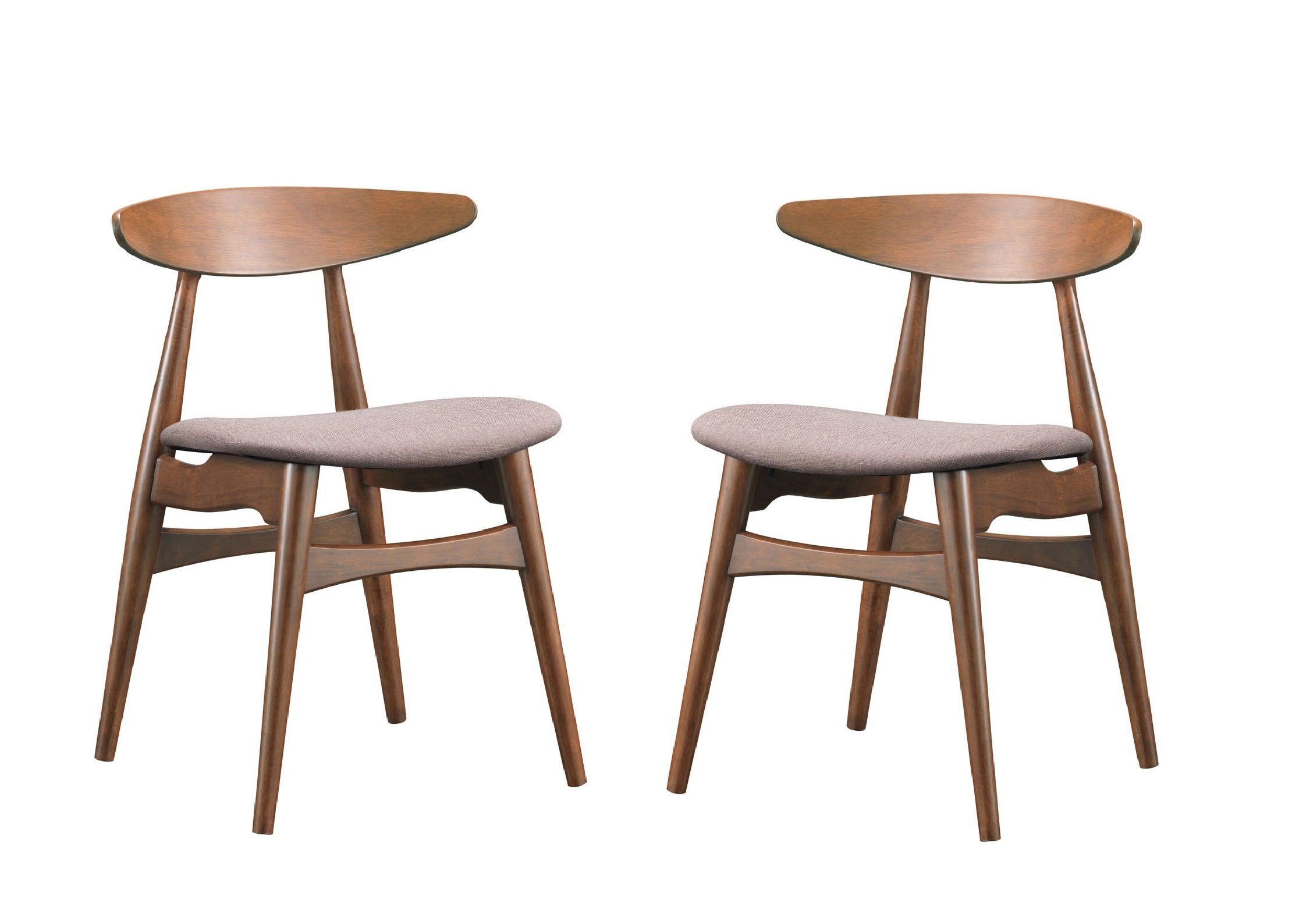 Baxton Studio Set of 2 Flamingo Mid-Century Dark Walnut Wood and Grey Faux Leather Dining Chairs - Mid-Century design set of 2 dining chairs Solid rubber wood with dark walnut veneer finishing, twill fabric Grey fabric with foam padding - kitchen-dining-room-furniture, kitchen-dining-room, kitchen-dining-room-chairs - 715OaGTOOXL -