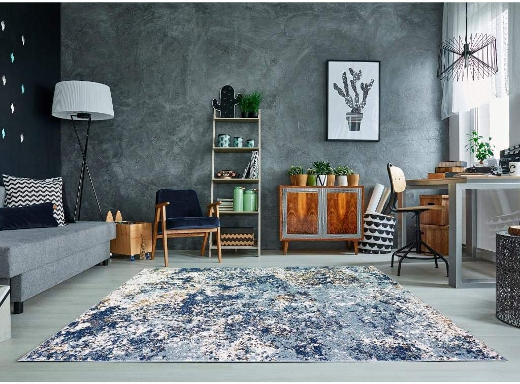 Amazon Com Persian Rugs 6490 Blue 8 X 10 Abstract Modern Area Rug Home Kitchen