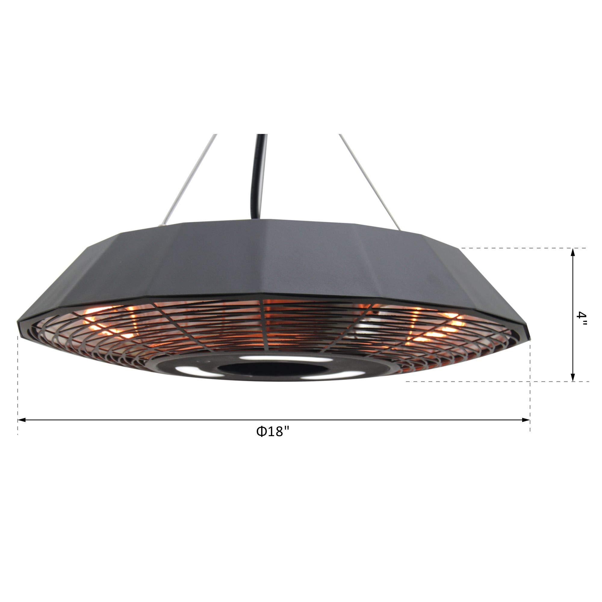 Outsunny 18u2033 1500 Watt Indoor Outdoor Ceiling Mounted Electric Patio Heater  ...