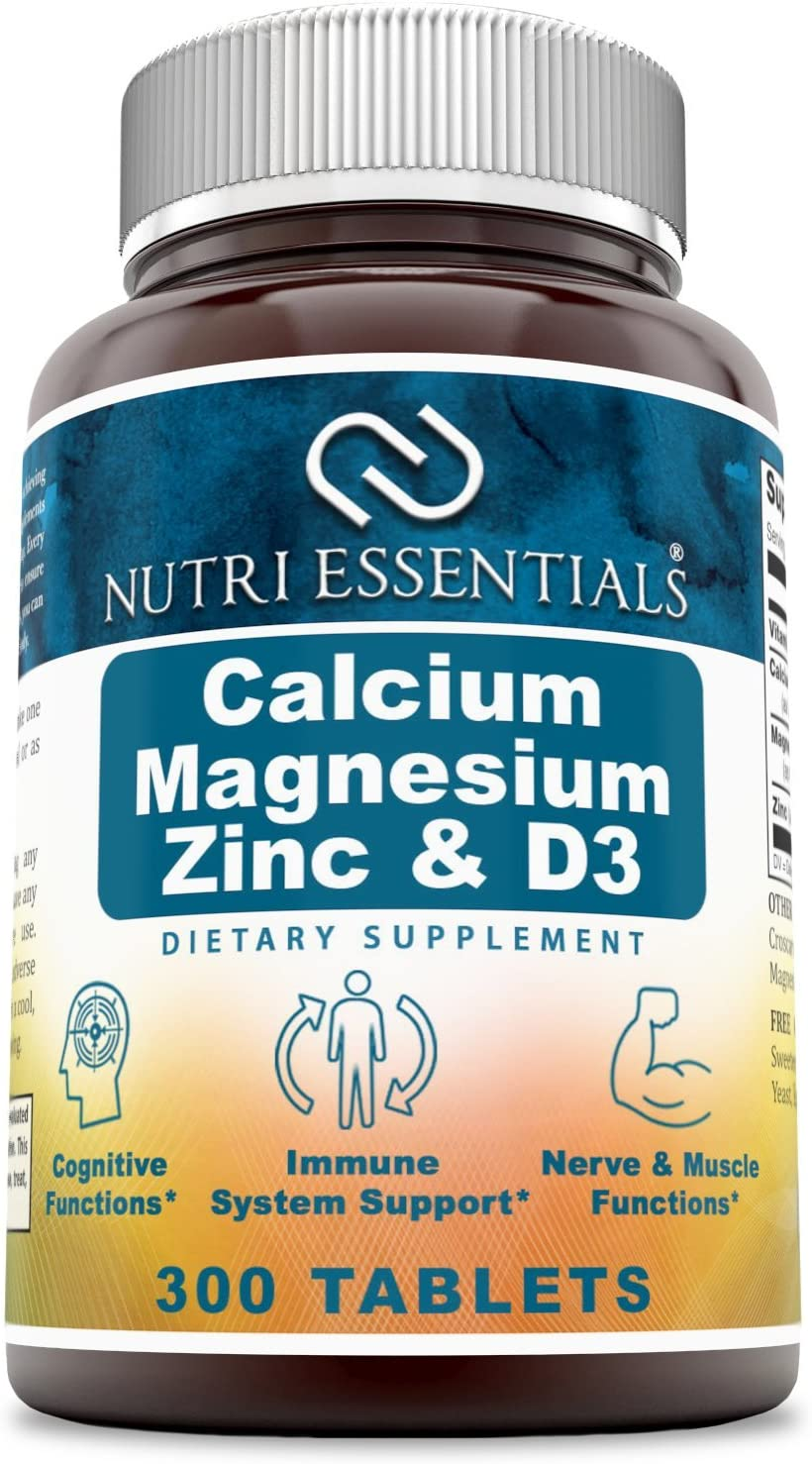 Nutri Essentials Calcium Magnesium Zinc + Vitamin D3 300 Tablets- Promotes Strong Bones & Teeth, Support Nerve & Muscle Function*